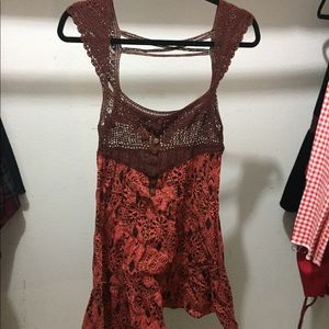 Free people size 4 crochet dress Rust